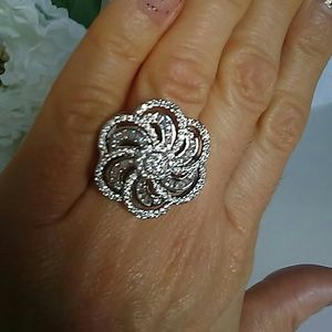 Camelia Flower Coctail Ring White Sapphires Size 8